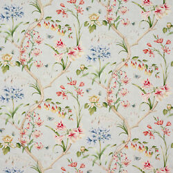 Colefax And Fowler English Garden Floral Linen Fabric 10 Yards Old Blue Multi