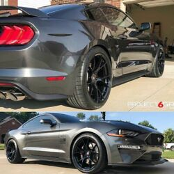 Project 6gr Ten Spoke 20x9/10.5 Gloss Black Concave Wheels For S550 Mustang Gt