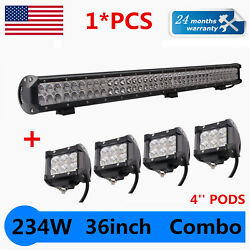36inch 234w Led Work Light Bar+4x 4 18w Led Pods Suv Ute Truck For Jeep Offroad