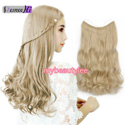 100 Remy Hidden Halo Invisible Wire Weft Human Hair Extension Long Wavy Curly