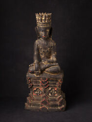 Antique Wooden Shan Buddha Statue From Burma, 18th Century