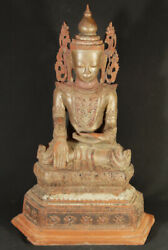 Antique Crowned Burmese Buddha Statue From Burma, Late 19th Century
