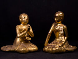 Pair Of Antique Monk Statues From Burma, 19th Century