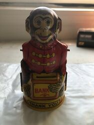 Vintage J Chein Tin Litho Monkey Tipping Hat Thank You Bank Arm Missing