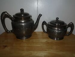 Reed And Barton Silver Plate C. 18701880and039s Wedding Procession Teapot And Sugar Bowl