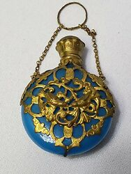 Old Blue Opaline Glass And Caged Ormolu Round Scent/perfume Bottle
