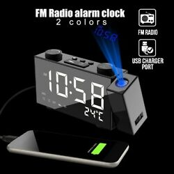 6quot; Digital LED Alarm Clock Projection Snooze Timer FM Radio Ceiling USB Charge