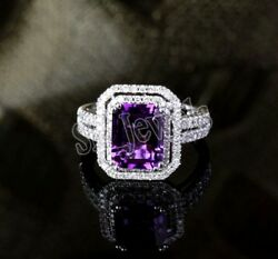 Christmas 1.88ct Natural Round Diamond Amethyst 14k White Gold Cocktail Ring
