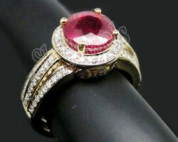 Christmas 1.74ct Natural Round Diamond Ruby 14k Solid Yellow Gold Cocktail Ring