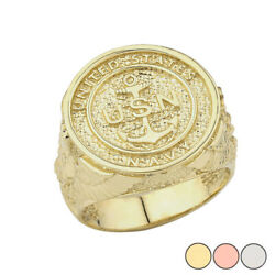 Solid Gold Us Navy Ring In 14k Yellow/rose/white