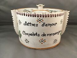 18th Century French Faience Ink Pot With Aphorism / Fine Condition