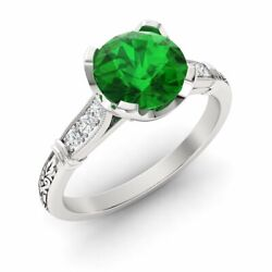 Certified 0.81ct Emerald And Diamond Antique Art Deco Ring In 14k White Gold
