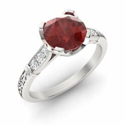 Certified 1.10 Ct Garnet And Diamond Antique Art Deco Ring In 14k White Gold