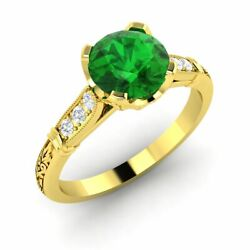 Certified 0.81ct Emerald And Diamond Antique Art Deco Ring In 14k Yellow Gold