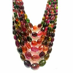 Natural Multi Tourmaline Faceted Oval Gemstone Beads 6X4-13X19MM AAA+ 18 Inch: