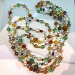 2 Pairs Of Necklace Sets, A Variety Of Sacred Stones Sort The Genuine Pearl Swit