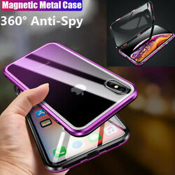 Magnetic Metal Frame Anti-Spy Privacy Tempered Glass Case For iPhone X XS MAX XR