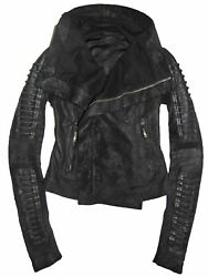 Rick Owens Black Blistered Lamb Leather Biker Jacket with Corded Arms IT 40 US 6