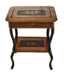 19Th C. French Napoleon III Marquetry Inlaid Sewing Table  antique dressing side