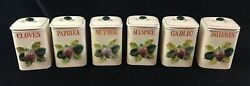 Vintage Lot Of 6 Herb Spice Jars With Strawberry Handles And Lids Allspice Paprika