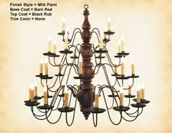 Kingston 4 Tier 36 Arm Wooden Chandelier By Katie's Lighting-8 Color Options