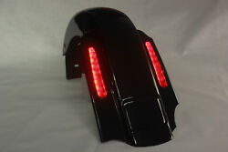 Gloss Black Cvo Style Rear Fender Left No Cutouts For 1993-2008 Harley Touring