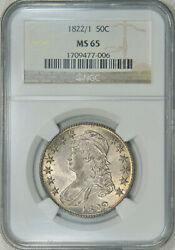 18221 NGC MS65 Bust Half a VERY SCARCE OVERDATE with nice luster