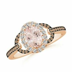 Vintage Style Morganite Halo Ring With Coffee And White Diamond In Gold/platinum