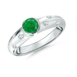 0.62ctw Semi Bezel Dome Emerald Ring With Diamond Accents In 14k Gold/platinum
