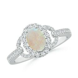 October Birthstone Vintage Style Oval Opal Halo Ring In 14k Gold/platinum