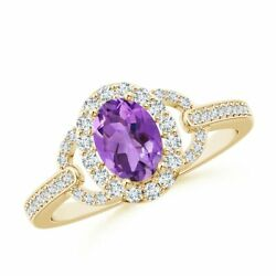 1.07ctw Vintage Style Oval Amethyst Halo Ring In 14k Gold/platinum