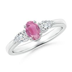 Oval Pink Tourmaline Three Stone Ring With Pear Diamonds In Gold/platinum