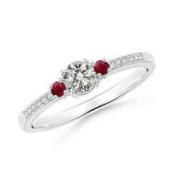 0.44ctw Classic Three Stone Diamond And Ruby Ring In 14k Gold/platinum