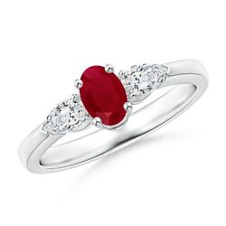 1ctw Oval Ruby Three Stone Ring With Pear Diamonds In Silver/gold/platinum