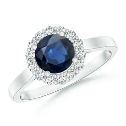Vintage Inspired Blue Sapphire Halo Ring With Diamond In 14k Gold/platinum
