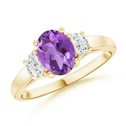 Three Stone Oval Amethyst And Half Moon Diamond Ring In Silver/gold/platinum