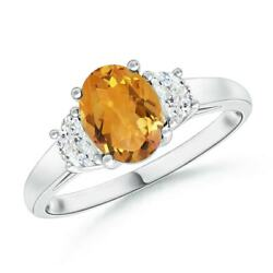 Three Stone Oval Citrine And Half Moon Diamond Ring In Silver/gold/platinum
