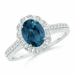 Vintage Style London Blue Topaz And Diamond Scalloped Halo Ring In Gold/platinum