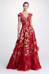 NWT Marchesa Notte Nude Illusion Tulle Neck Ball Gown