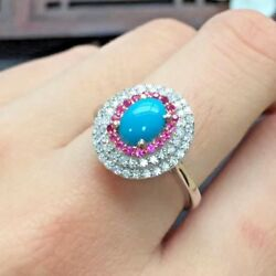 1.25ct Round Diamond Turquoise Ruby Gemstone 14k Solid White Gold Cocktail Ring
