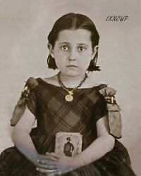8 By 10 Photo Print Small Girl In Mourning Holding Civil War Soldier Tintype