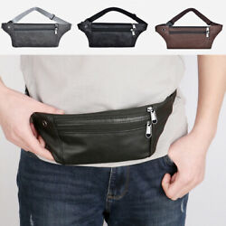 Men PU Leather Money Phone Bags Fanny Pack Waist Bag Travel Cross Bags $4.55