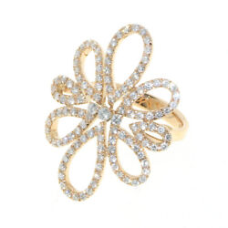 2.52ctw Natural Round Diamond 14k Solid Yellow Gold Cocktail Ring In Size 7 To 9