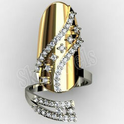 1.01ct Natural Round Diamond 14k Solid Yellow Gold Cluster Nail Ring