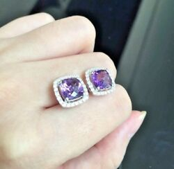Christmas1.00ct Natural Round Diamond Amethyst 14k Solid White Gold Stud Earring
