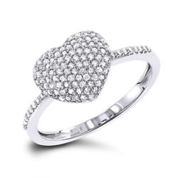 1.65ct Natural Round Diamond 14k Solid White Gold Cluster Heart Ring Size 7 To 9