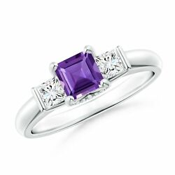 Classic Square Amethyst And Diamond Engagement Ring In 14k Gold/platinum