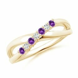 0.18ctw Round Amethyst And Diamond Ring In 14k Gold/platinum Size 3-13