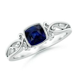 0.57ctw Vintage Style Cushion Sapphire Solitaire Ring In 14k Gold/platinum