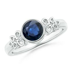 Vintage Style Round Blue Sapphire Ring With Pear Motifs In Gold/platinum